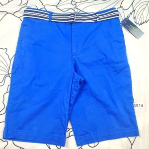 NWT POLO Boys Blue Shorts w Belt Size 18 Childrens